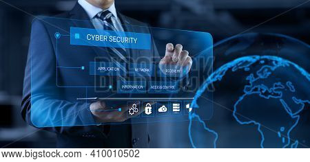 Cyber Security Access Control Data Protection Personal Information Privacy Concept. Businessman Pres