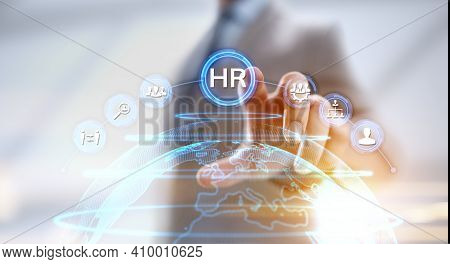Hr Human Resources Management Recruitment Headhunting. Businessman Pressing Button On Screen.