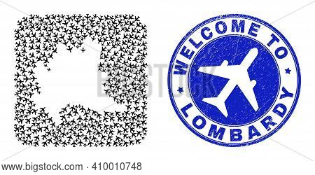 Vector Collage Lombardy Region Map Of Airliner Elements And Grunge Welcome Seal. Collage Geographic