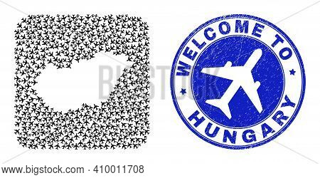Vector Collage Hungary Map Of Tourism Items And Grunge Welcome Seal Stamp. Collage Geographic Hungar