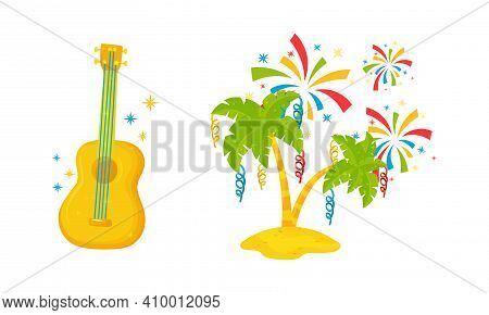 Festive Brazil Attributes With Guitar, Decorated Palm Tree And Firework Vector Set