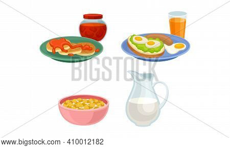 Breakfast With Pancakes, Sandwich And Corn Flakes With Milk In Bowl Vector Set