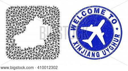 Vector Mosaic Xinjiang Uyghur Region Map Of Aero Items And Grunge Welcome Seal Stamp. Mosaic Geograp