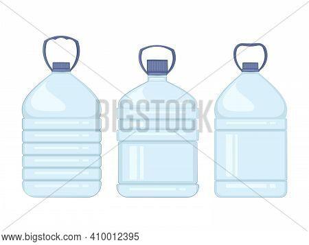 Water Bottle Flat Style Set. Healthy Agua Bottles Vector Illustration.