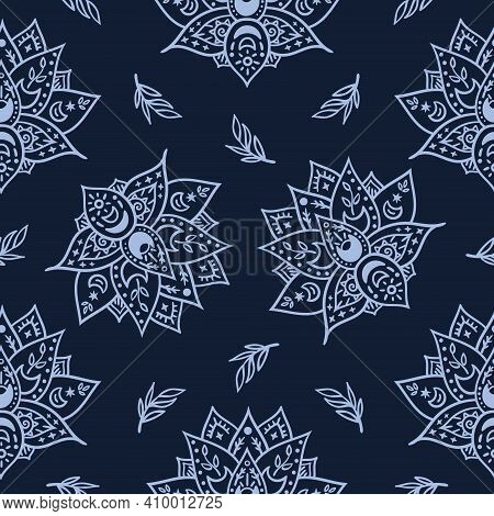Celestial Black And White Lotus Flower Seamless Pattern - Hand Drawn Line Space Digital Paper With L