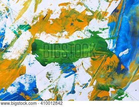 Chaotic Paint Strokes. Stained Colorful Color  Surface .  Sloppy Bumpy Staining, Grunge Textured Bac