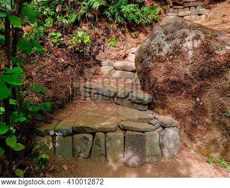 Riverside Steps - Stone Steps At A Primitive Campsite Along The Blue River - Northeast Of Blue River