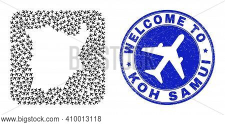 Vector Collage Koh Samui Map Of Aircraft Items And Grunge Welcome Stamp. Collage Geographic Koh Samu