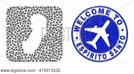 Vector Collage Espirito Santo State Map Of Aircraft Items And Grunge Welcome Seal Stamp. Collage Geo