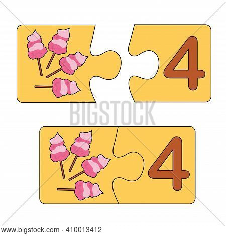 Educational Game For Kids. Find The Right Picture For The Number. Puzzle With Number Four And Candy-