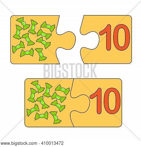 Educational Game For Kids. Find The Right Picture For The Number. Puzzle With Number Ten And Sweetme