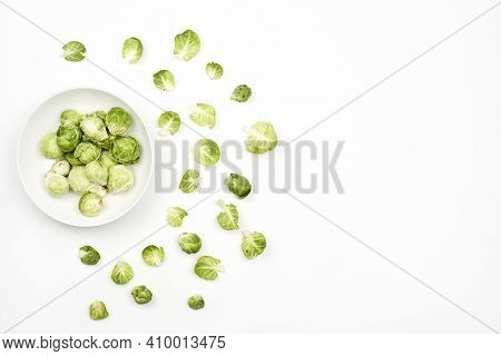 Small Cabbages On White, Also Know As Brussel Sprouts Ki Sabji. Copy Space
