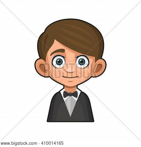 Cute Young Man Avatar. Boy In Tuxedo And Bow Tie. Vector