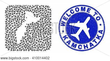 Vector Collage Kamchatka Map Of Airlines Elements And Grunge Welcome Badge. Collage Geographic Kamch