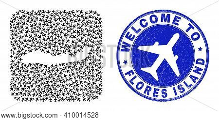 Vector Collage Flores Island Of Indonesia Map Of Air Plane Elements And Grunge Welcome Stamp.