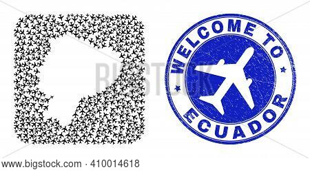 Vector Mosaic Ecuador Map Of Airflight Elements And Grunge Welcome Seal Stamp. Mosaic Geographic Ecu