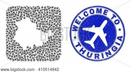 Vector Mosaic Thuringia Land Map Of Trip Elements And Grunge Welcome Badge. Mosaic Geographic Thurin