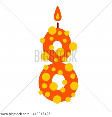 A Vector Candle In The Shape Of The Number 8 On A White Background Is Isolated. Illustration Of Cand
