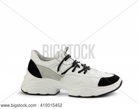 Stylish White Women Trainers With Black And Grey Suede Details. Black Lacing And White And Black Rub