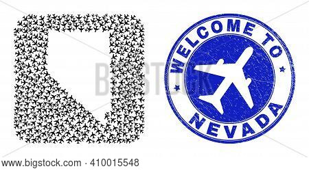 Vector Mosaic Nevada State Map Of Airlines Elements And Grunge Welcome Badge. Collage Geographic Nev