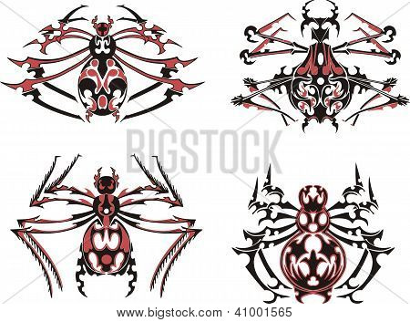 Black and red symmetric spider tattoos. Vector Illustration EPS8 poster