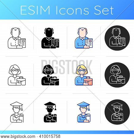 Age And Gender Differences Icons Set. Senior Citizen. Female Adult. Student. Old Male Pensioner. Ear