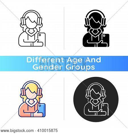 Teenage Girl Icon. Female Teenager. 13-19 Years Old Girl. Teen Behavior. Adolescent Years. Independe