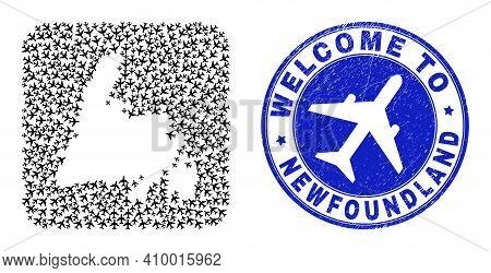 Vector Collage Newfoundland Island Map Of Air Plane Elements And Grunge Welcome Badge. Collage Geogr
