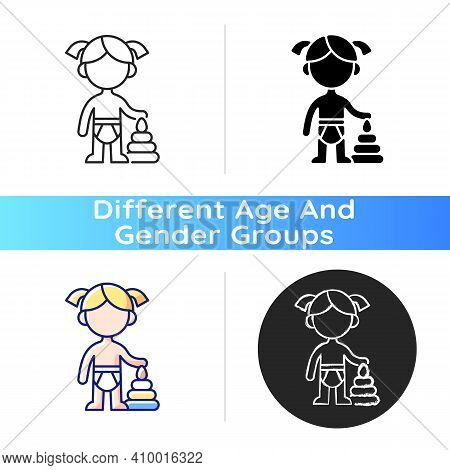 Female Toddler Icon. Toddlerhood. Preschool Years. Cognitive, Emotional And Social Development. 12 T