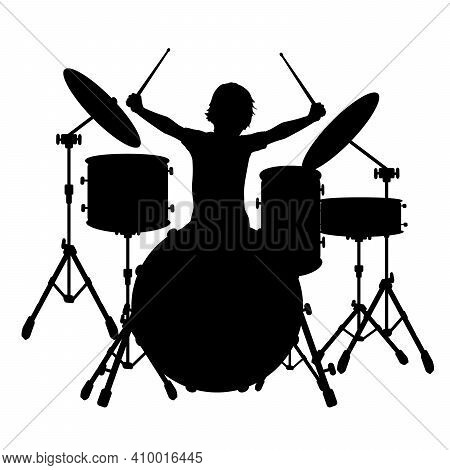Silhouette Boy Music Plays The Percussion. Illustration Graphics Icon Vector