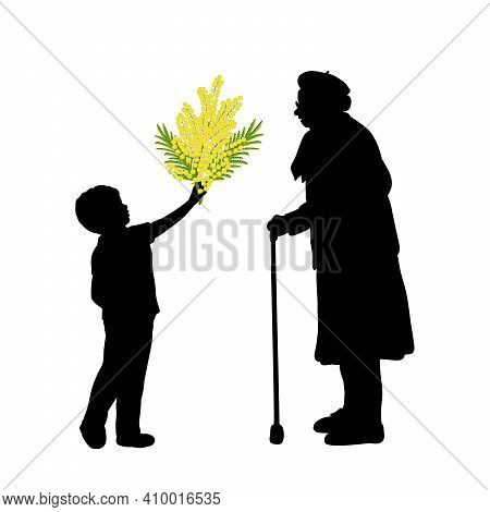 Silhouette Little Boy Gives Grandmother Flowers. Illustration Graphics Icon Vector