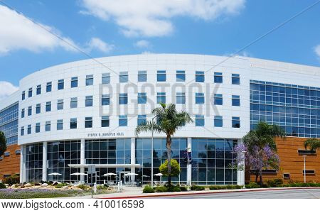 FULLERTON CALIFORNIA - 23 MAY 2020: Steven G Mihaylo Hall on the Campus of California State University Fullerton, is home of the College of Business and Economics