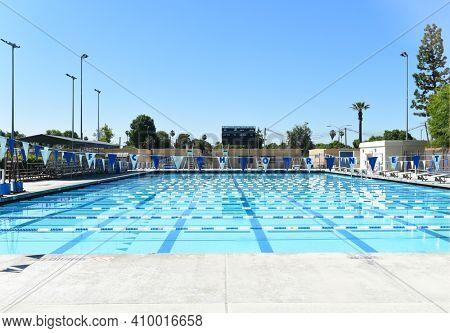 FULLERTON, CALIFORNIA - 21 MAY 2020: Aquatic Center on the Campus of Fullerton College.