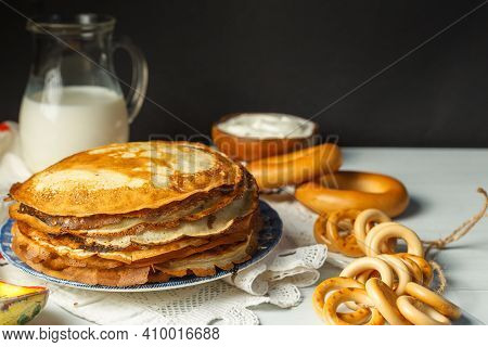 Pancakes. Maslenitsa, A Traditional Russian Holiday, With A Treat Of Thin Pancakes With Delicious To