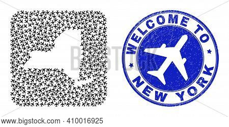 Vector Collage New York State Map Of Airplane Elements And Grunge Welcome Seal Stamp. Mosaic Geograp