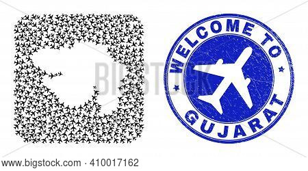 Vector Collage Gujarat State Map Of Air Plane Elements And Grunge Welcome Seal Stamp. Mosaic Geograp