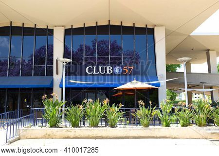 FULLERTON CALIFORNIA - 23 MAY 2020: Club 57 on the campus of Cal State Fullerton is the Universitys faculty staff lounge, located in Room 109 of Titan Shops.