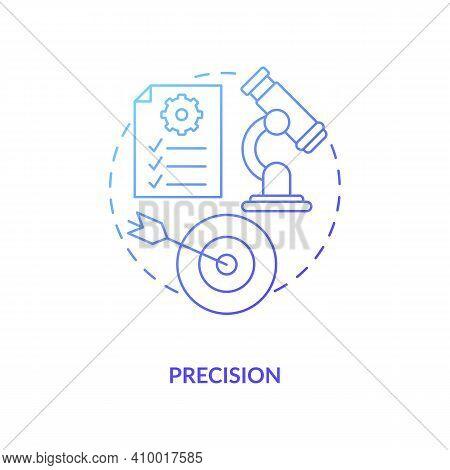 Precision Concept Icon. Statistical Surveys Idea Thin Line Illustration. Measuring Theoretical. Resu