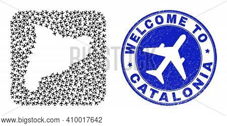 Vector Mosaic Catalonia Map Of Airflight Items And Grunge Welcome Badge. Mosaic Geographic Catalonia