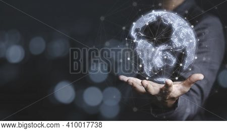 Businessman Touching To Virtual World With Connection Line For Global Networks And Big Data Transfor