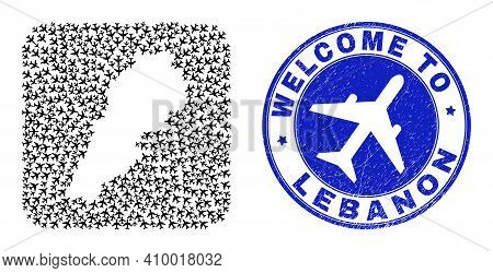Vector Mosaic Lebanon Map Of Air Fly Elements And Grunge Welcome Seal. Mosaic Geographic Lebanon Map