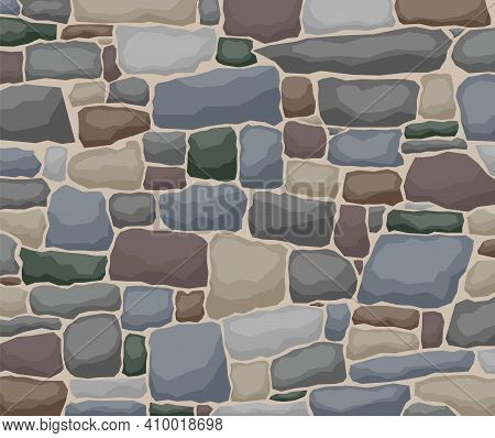 Texture Of Stones, Stone Wall. Vector Illustration. Vector.