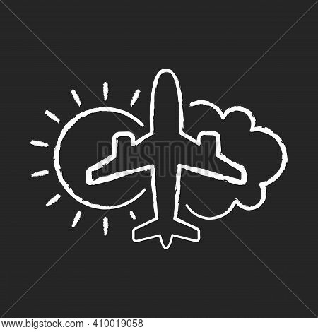 Aeronautical Meteorology Chalk White Icon On Black Background. Civil Aviation Issues. Plane With Sun