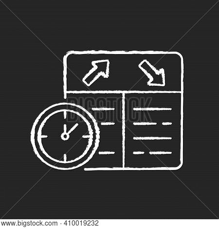 Flight Scheduling Chalk White Icon On Black Background. The Ability To Plan Trips. Punctual Air Comp