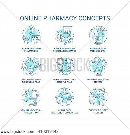 Online Pharmacy Concept Icons Set. Online Medication Order Steps Idea Thin Line Rgb Color Illustrati