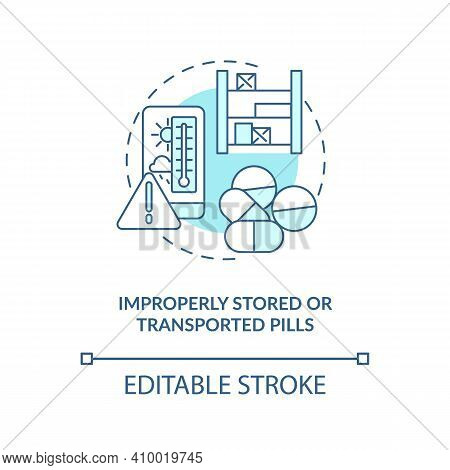 Improperly Stored Or Transported Pills Concept Icon. Buying Drugs. Online Pharmacy Idea Thin Line Il