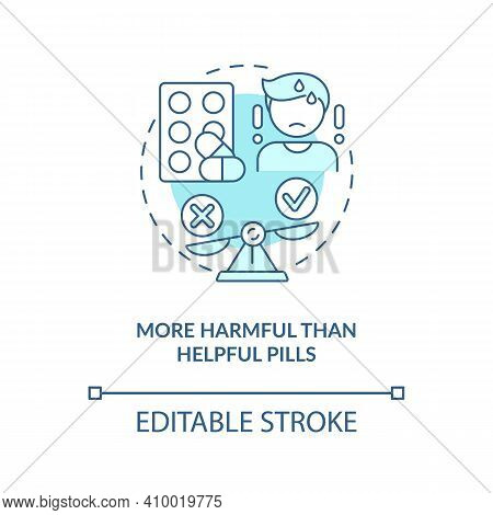 More Harmful Than Helpful Pills Concept Icon. Buying Drugs. Online Pharmacy Idea Thin Line Illustrat