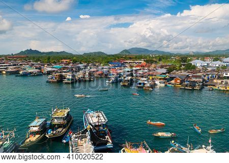 View Of Semporna City, Sabah, Malaysia. Travel To Asia. Gypsy Village In Sulu Sea.