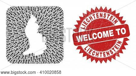 Vector Collage Liechtenstein Map Of Migration Arrows And Grunge Welcome Seal Stamp. Collage Geograph