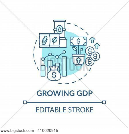 Growing Gdp Concept Icon. Production Of Goods Idea Thin Line Illustration. Inflation And Government.